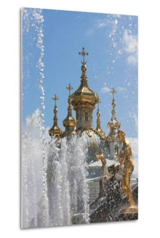 Golden Statues and Fountains of the Grand Cascade at Peterhof Palace, St. Petersburg, Russia-Martin Child-Metal Print