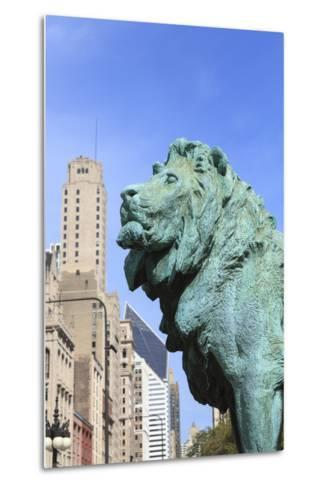 One of Two Iconic Bronze Lion Statues Outside the Art Institute of Chicago, Chicago, Illinois, USA-Amanda Hall-Metal Print