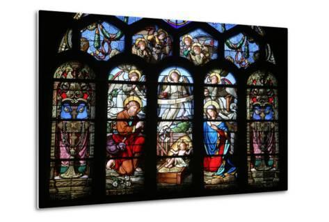 Stained Glass Window Depicting the Nativity, St. Eustache Church, Paris, France, Europe-Godong-Metal Print