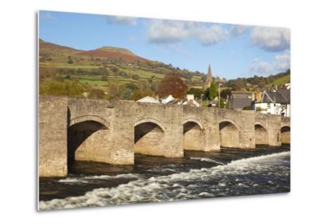 Bridge over River Usk, Crickhowell, Powys, Wales, United Kingdom, Europe-Billy Stock-Metal Print