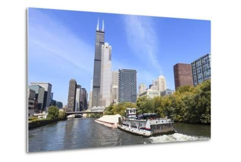 River Traffic on South Branch of Chicago River, Chicago, Illinois, USA-Amanda Hall-Metal Print