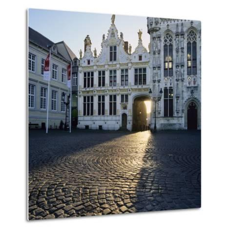 Burg Square and Town Hall, Bruges, UNESCO World Heritage Site, West Vlaanderen (Flanders), Belgium-Stuart Black-Metal Print