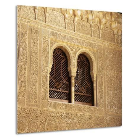 Moorish Window and Arabic Inscriptions, Alhambra Palace, UNESCO World Heritage Site, Spain-Stuart Black-Metal Print