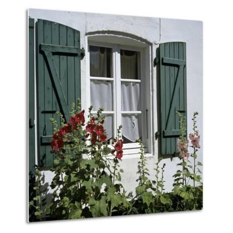 Typical Scene of Shuttered Windows and Hollyhocks, St. Martin, Ile de Re, Poitou-Charentes, France-Stuart Black-Metal Print