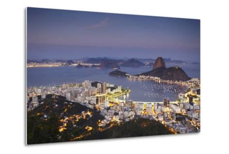 View of Sugar Loaf Mountain (Pao de Acucar) and Botafogo Bay at Dusk, Rio de Janeiro, Brazil-Ian Trower-Metal Print