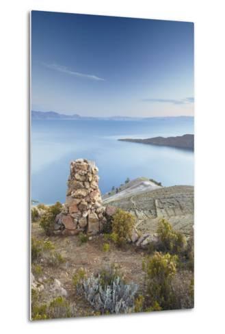 Stack of Prayer Stones on Isla del Sol (Island of the Sun), Lake Titicaca, Bolivia, South America-Ian Trower-Metal Print