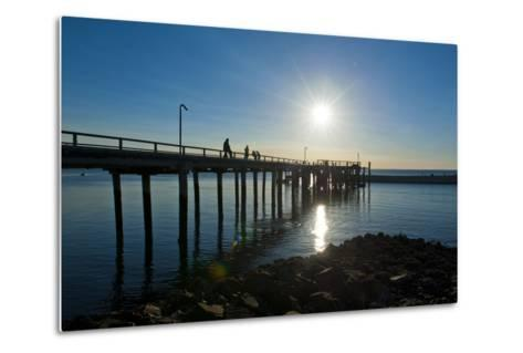 Pier at Sunset at Fraser Island, UNESCO World Heritage Site, Queensland, Australia, Pacific-Michael Runkel-Metal Print