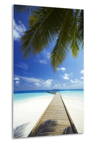 Wooden Jetty Out to Tropical Sea, Maldives, Indian Ocean, Asia-Sakis Papadopoulos-Metal Print