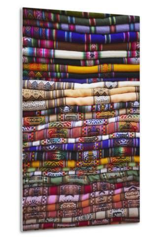 Colourful Blankets in Witches' Market, La Paz, Bolivia, South America-Ian Trower-Metal Print