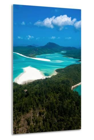 Aerial of Whitehaven in the Whit Sunday Islands, Queensland, Australia, Pacific-Michael Runkel-Metal Print