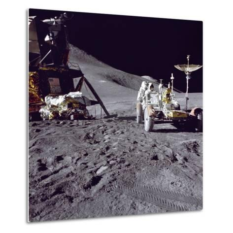Apollo 15 Astronaut James Irwin Loads Lunar Roving Vehicle at the Hadley-Apennine Landing Site--Metal Print