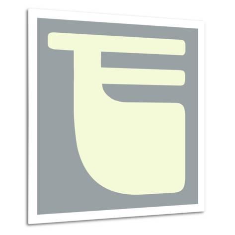 Letter F White-NaxArt-Metal Print