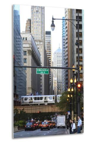 L Train on Elevated Track Crosses South Lasalle Street in the Loop District, Chicago, Illinois, USA-Amanda Hall-Metal Print