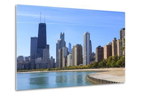 Chicago Cityscape from North Avenue Beach, John Hancock Center on the Left, Chicago, Illinois, USA-Amanda Hall-Metal Print