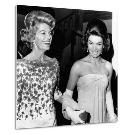 Jacqueline Kennedy with the Wife of the French Ambassador, Nicole Alphand--Metal Print