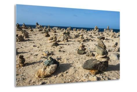 Stone Set Up on Shore, Aruba, ABC Islands, Netherlands Antilles, Caribbean, Central America-Michael Runkel-Metal Print