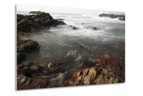 Sea Swirling around Rocks, Near Polzeath, Cornwall, England, United Kingdom, Europe-Nick Upton-Metal Print