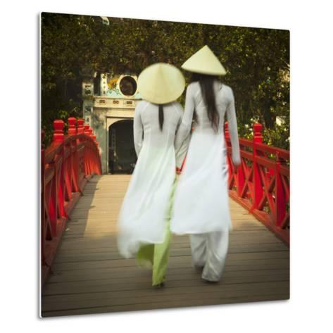 Girls Wearing Ao Dai Dress, Huc Bridge, Hoan Kiem Lake, Hanoi, Vietnam-Jon Arnold-Metal Print
