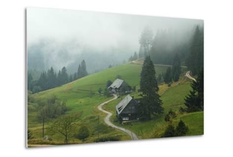 Farmhouses in Fog, Muchenland, Black Forest, Baden-Wurttemberg, Germany, Europe-Jochen Schlenker-Metal Print