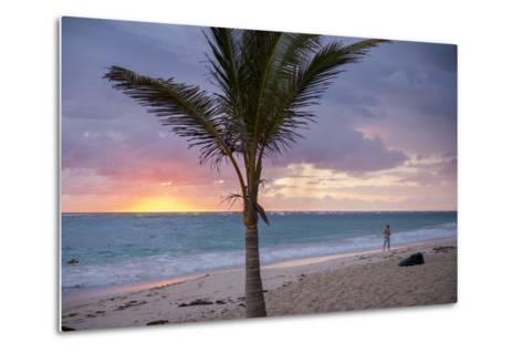Man Jogging at Sunrise, Bavaro, Higuey, Punta Cana, Dominican Republic-Lisa S^ Engelbrecht-Metal Print