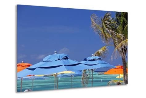 Umbrellas and Shade at Castaway Cay, Bahamas, Caribbean-Kymri Wilt-Metal Print