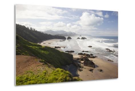 Cannon Beach and Haystack Rock, Crescent Beach, Ecola State Park, Oregon, USA-Jamie & Judy Wild-Metal Print