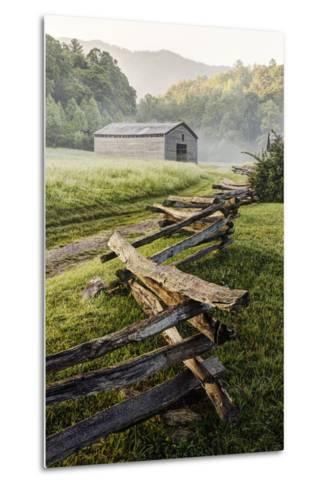 Pioneer's Barn, Split Rail Fence, Cades Cove, Great Smoky Mountains National Park, Tennessee, USA--Metal Print