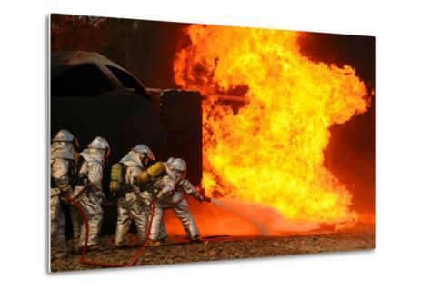 Ohio Air National Guardsmen Extinguish an Aircraft Fire in Training Exercise, 2010--Metal Print