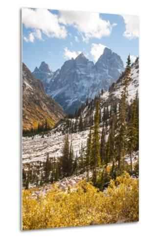 A High Canyon in Fall Foliage and Early Snow, and Snow Covered Peaks-Greg Winston-Metal Print