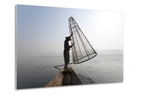 A Basket Fisherman on Inle Lake Prepares to Plunge a Cone Shaped Net-Alex Treadway-Metal Print