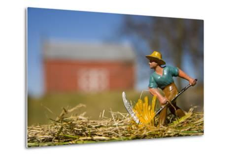 A Lead Figurine of a Farmer Cutting Hay with a Real Barn in Distance-Stephen St^ John-Metal Print