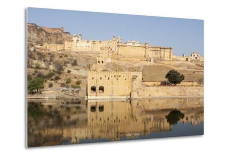 Amer Fort and its Reflection in Water-Jonathan Irish-Metal Print