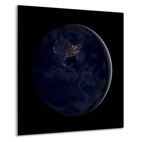 Full Earth at Night Showing City Lights of the Americas-Stocktrek Images-Metal Print