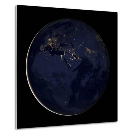 Full Earth Showing City Lights of Africa, Europe, And the Middle East-Stocktrek Images-Metal Print