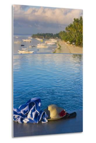 Travel, Towel and Straw Hat on the Beach, Bohol Island, Philippines-Keren Su-Metal Print