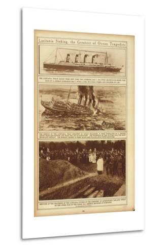 New York Times Illustrations of Sinking of the Lusitania by a German Submarine, 1915--Metal Print