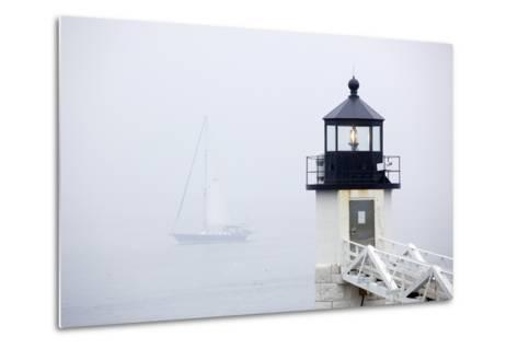 A Sailboat Passing Marshall Point Lighthouse in Port Clyde, Maine-John Burcham-Metal Print