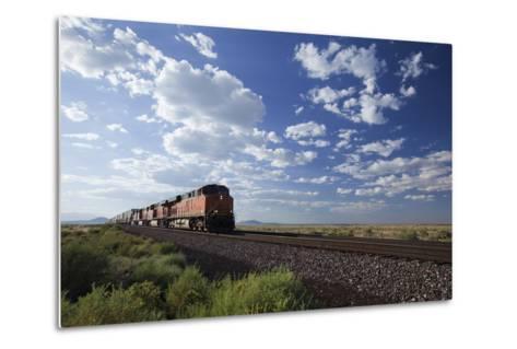 A Train Crossing the Landscape-John Burcham-Metal Print
