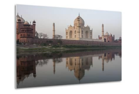 The Taj Mahal, and its Reflection in the Yamuna River-Jonathan Irish-Metal Print