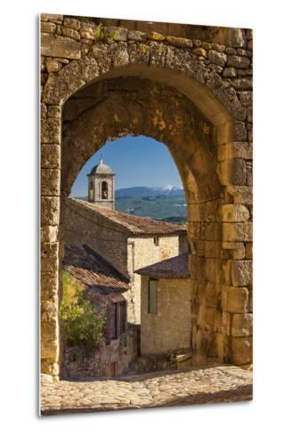 Stone Gate in Lacoste with Mount Ventoux Beyond, Provence, France-Brian Jannsen-Metal Print