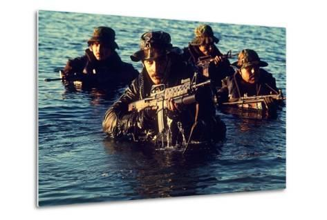 US Navy SEAL Team Emerges from Water During Warfare Training, Dec. 1, 1986--Metal Print