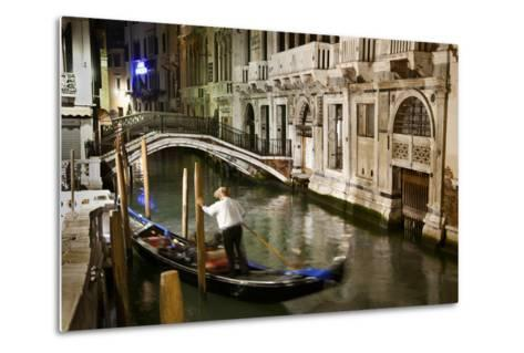 A Gondolier in a Quiet Canal At Night in Venice, Italy-Ira Block-Metal Print