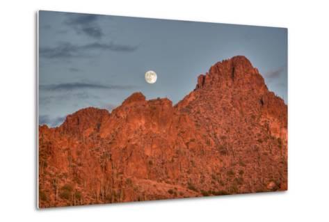 A  Mountain Range at Sunset in Tucson, Arizona-John Burcham-Metal Print