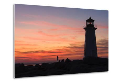 Peggy's Point Lighthouse in Silhouette at Sunset-Jonathan Irish-Metal Print