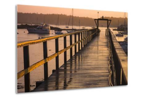 Golden Sunlight on a Pier, Boats, and Water at Sunset-Jonathan Irish-Metal Print