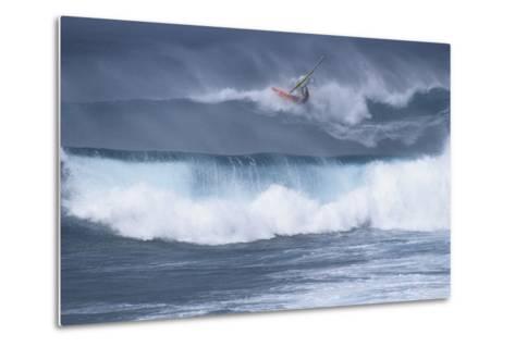 Windsurfing on the Ocean at Sunset, Maui, Hawaii, USA-Gerry Reynolds-Metal Print