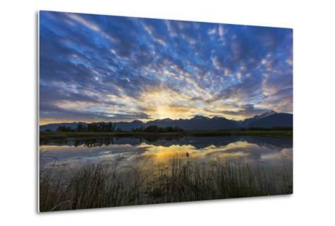 Pond Reflects the Mission Mountains, Ninepipe, Mission Valley, Montana, USA-Chuck Haney-Metal Print