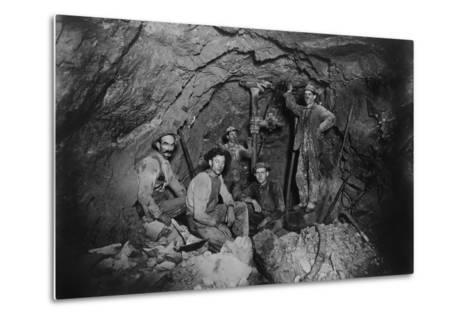Five Miners in Last Chance Company Lead Mine, in the Coeur D'Alene Region of Idaho, Ca, 1910--Metal Print
