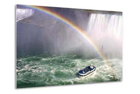 The Maid of the Mist Tourist Boat Under a Double Rainbow at Niagara Falls-Charles Kogod-Metal Print