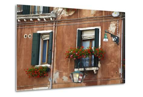 Street Scenes from Venice with Flower Boxes, Venice, Italy-Terry Eggers-Metal Print